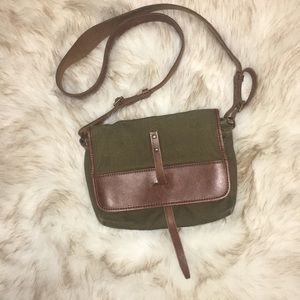 J Crew Canvas and Leather Crossbody